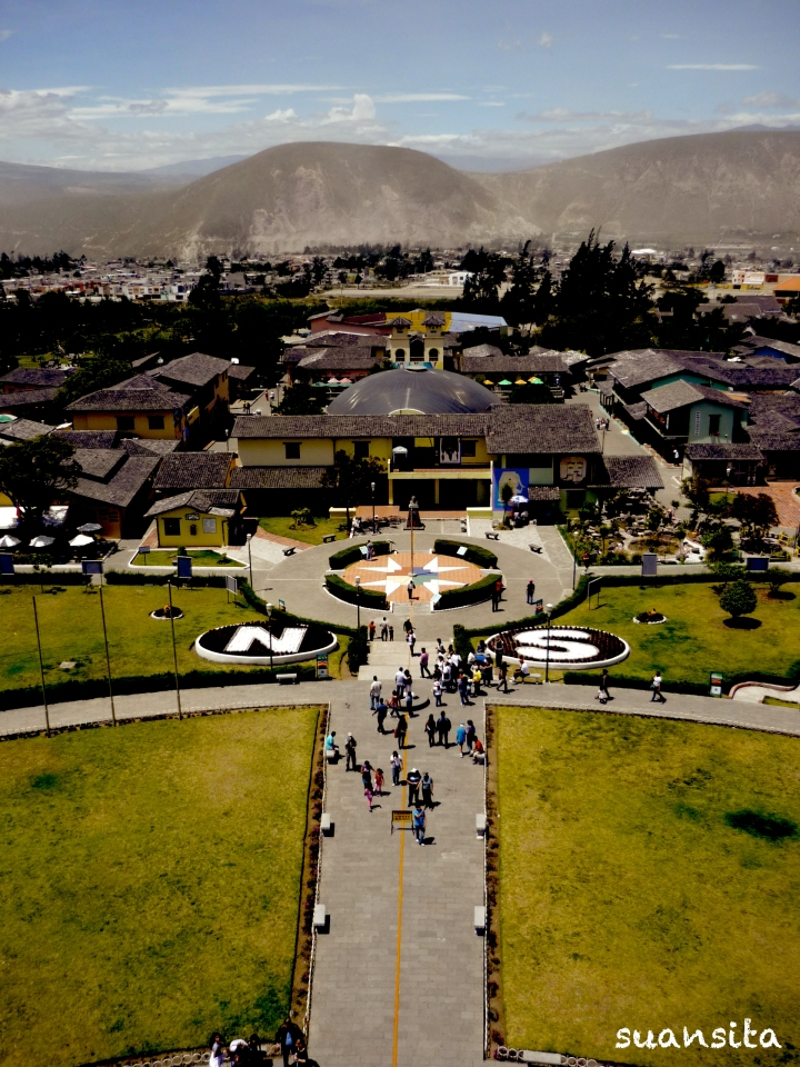 View from the top of the Mitad del Mundo monument. The yellow line supposedly marks the equator ... but they were a few hundred feet off.