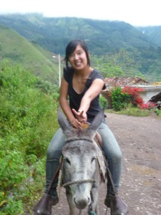 On a donkey in El Airo, Ecuador.