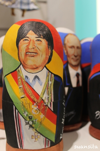 An Evo Morales matrushka doll alongside Putin dolls, at a Russian souvenir store (there were also Chávez and Obama ones).