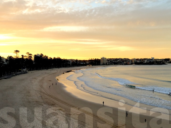 Sunset over Manly Beach.
