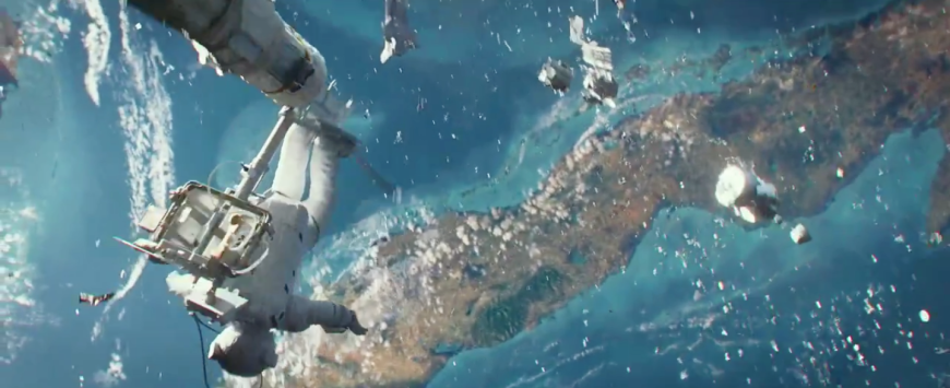 Re-entry. Still from the movie Gravity.