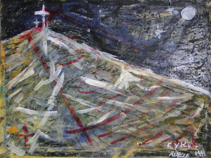"CYRIL RUELLE PAINTING ""GOLGOTHA"" 1999"